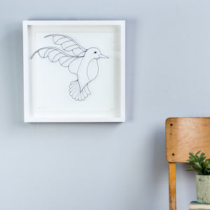 Framed Original 3D Wire 'Hummingbird' Artwork