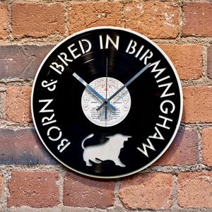 'Born And Bred In Birmingham' Record Style Clock - home accessories