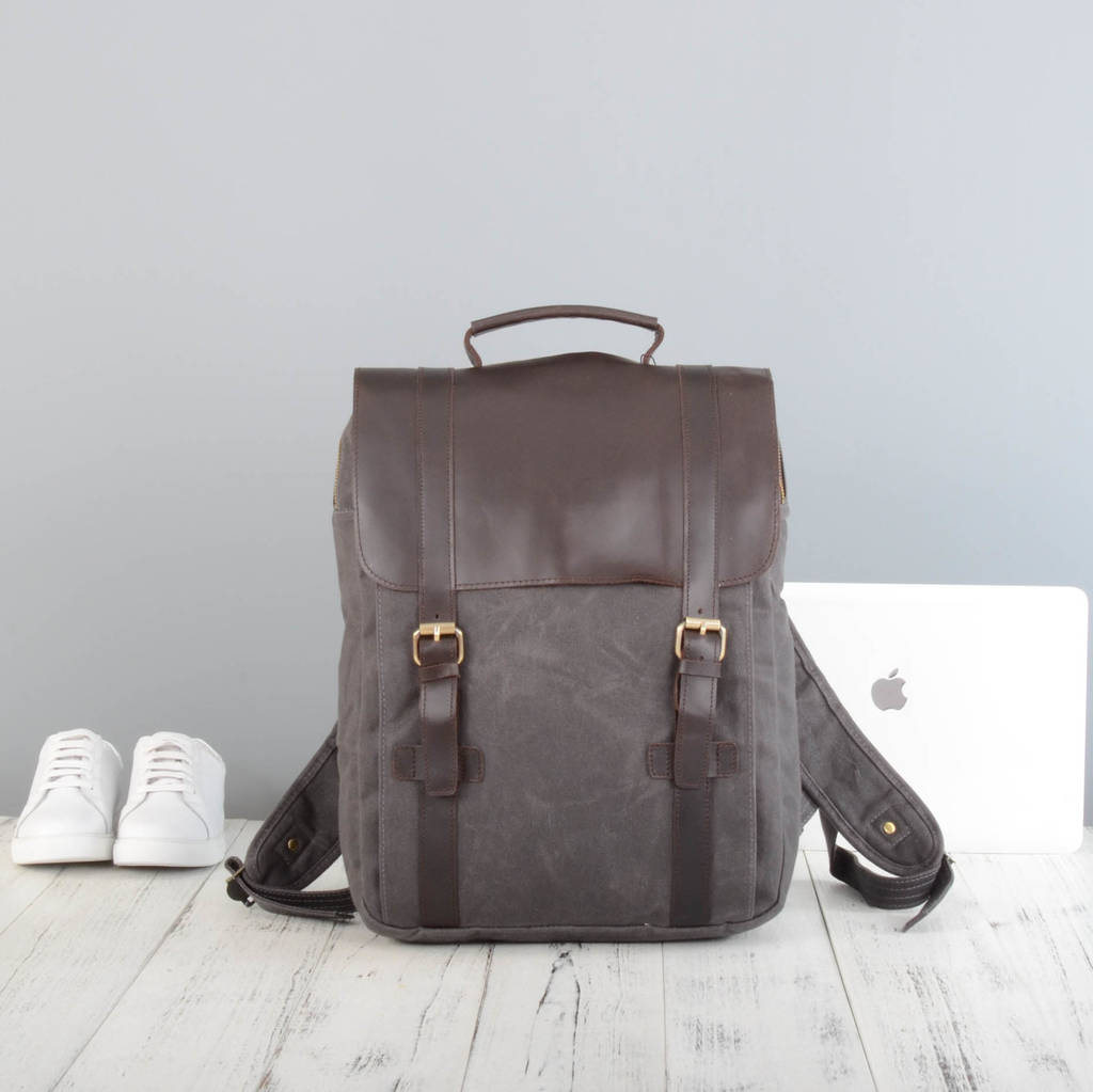 b2736bbd057 personalised waxed canvas and leather backpack by eazo ...