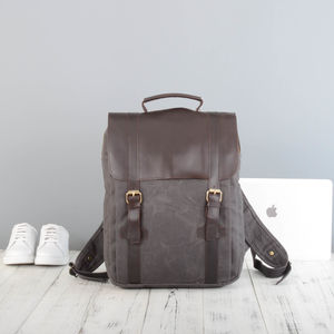 Personalised Waxed Canvas And Leather Backpack - gifts for him