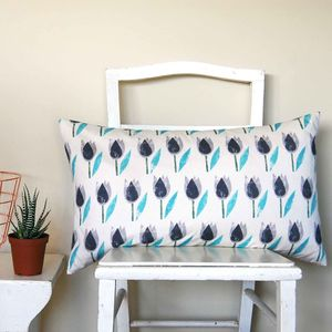 Large Rectangle Turquoise Tulip Cushion - patterned cushions