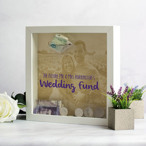 Personalised Photo Wedding Fund Money Box Frame - storage & organisers