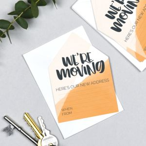 New Address Card Pack Of Six 'We're Moving'