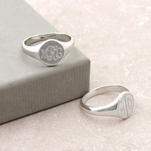 Mens Sterling Silver Monogram Oval Signet Ring - rings