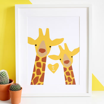 Giraffe Couple 'Selfie' Personalised A3 Print