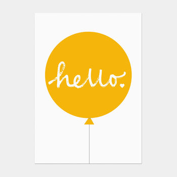 Hello Balloon Postcard Yellow