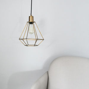 Gold Cage Diamond Pendant Light - lighting