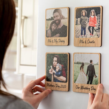 Personalised Photo Magnet Oak Veneer