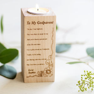 Godparent Personalised Wooden Tealight Candle Holder
