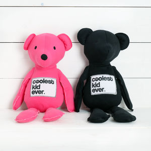 Coolest Kid Ever Bear In Pink Or Black - soft toys & dolls