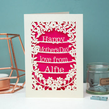 Personalised Papercut Happy Mother's Day Love From Card
