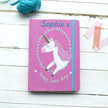 Personalised Pink Unicorn Notebook