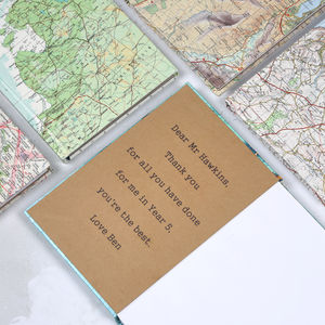 Personalised Map Location Notebook Gift For Teachers