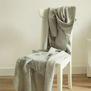 Silver, Charcoal, Navy Baby Alpaca Bella Throw