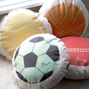 Personalised Sports Balls Cushion - bedroom