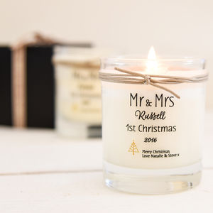 Personalised Mr And Mrs 1st Christmas Scented Candle - home accessories