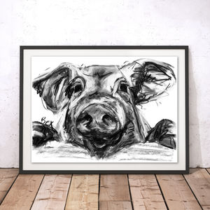 Pig Charcoal Fine Art Giclée Print - animals & wildlife