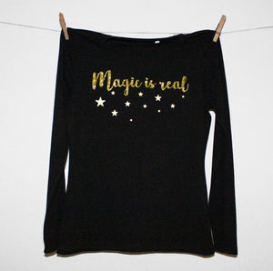 'Magic Is Real' Glittery Ladies Long Sleeve T Shirt - tops & t-shirts