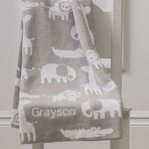 Personalised Jungle Animal Cotton Knitted Baby Blanket - baby care