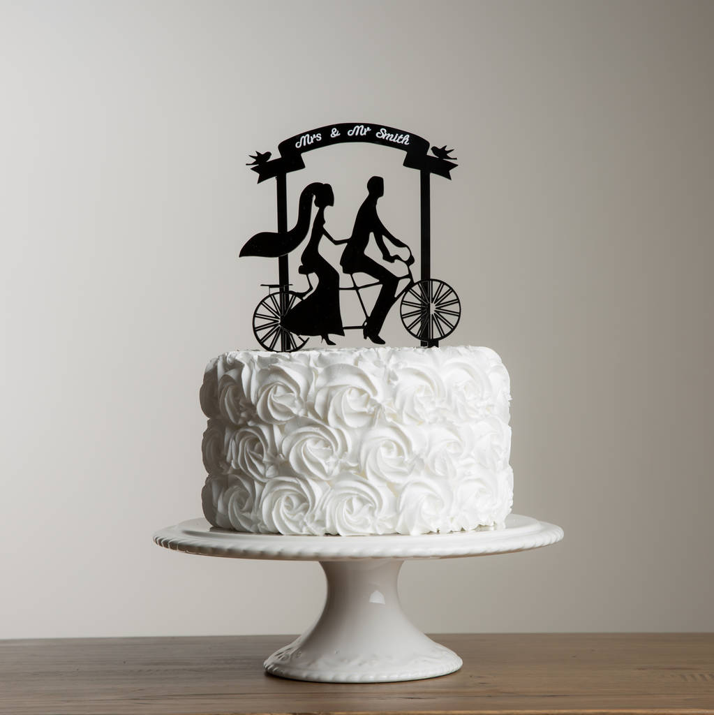 Mr And Mrs Tandem Bike Wedding Banner Cake Topper