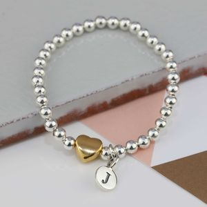Personalised Tilly Gold Heart Bracelet - christening jewellery