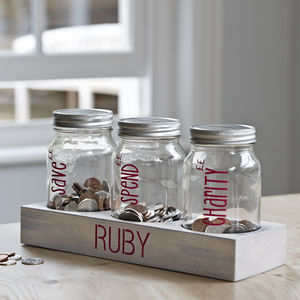 Personalised Coin Jar Set - storage & organisers