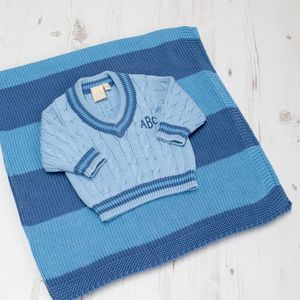 Baby Blue Cricket Jumper And Blanket Gift Set
