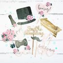 Personalised Floral Wedding Photo Booth Props