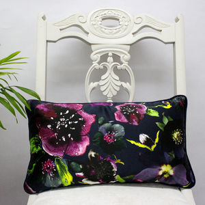 Garden At Night Luxury Silk Botanical Floral Cushion