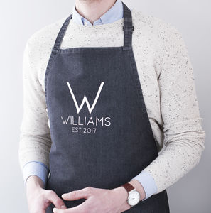 Personalised Family Name Denim Apron - winter sale