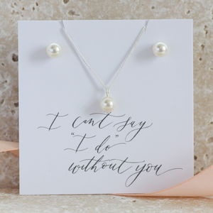 Bridesmaid Pearl Pendant And Earring Gift Set - wedding thank you gifts