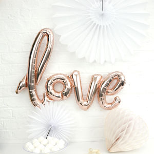 Copper Script Love Balloon Decorations