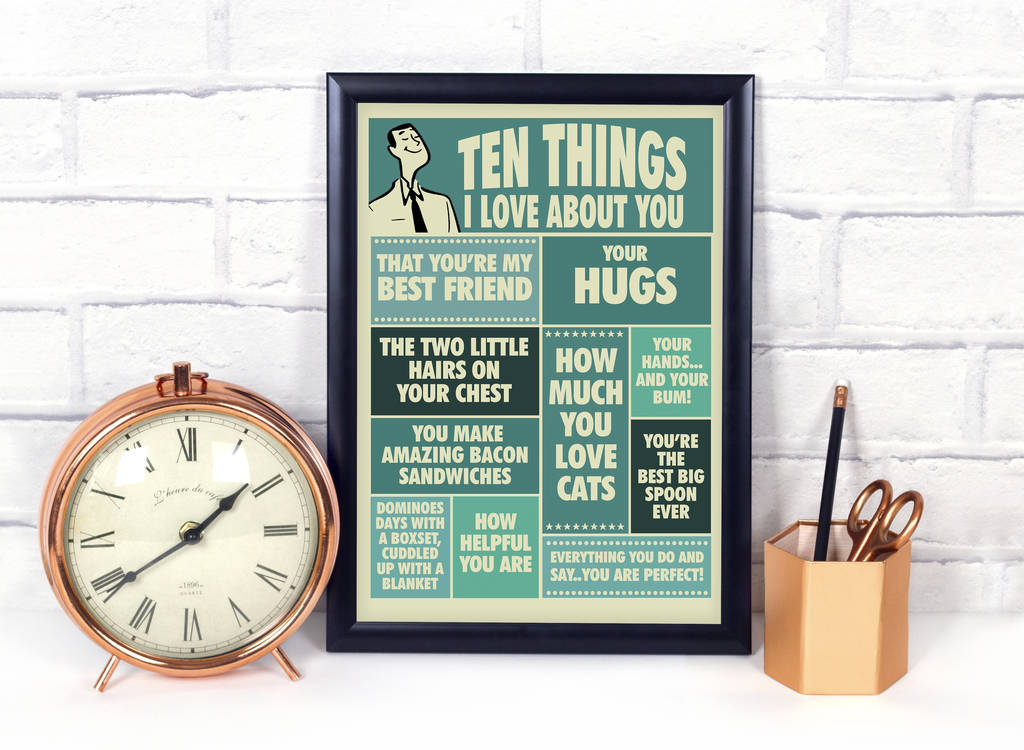 10 Things I Love About You: Ten Things I Love About You, Print For Him By Teaonesugar