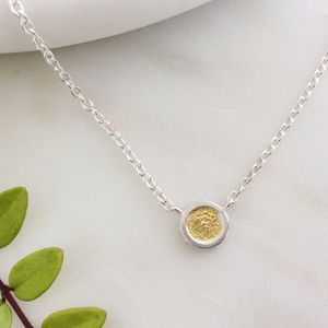 Silver And 24ct Gold Circle Necklace