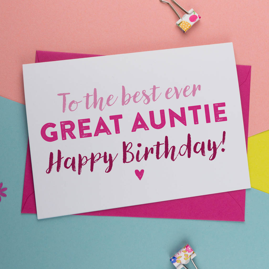 Best Ever Great Aunt Auntie Birthday Card