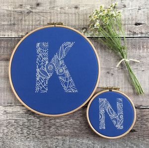 Hand Embroidered Blue And Cream Initial Hoop - mixed media & collage