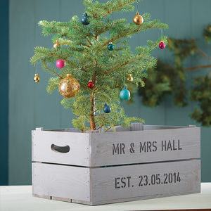Personalised Wooden Crate Planter - tree decorations