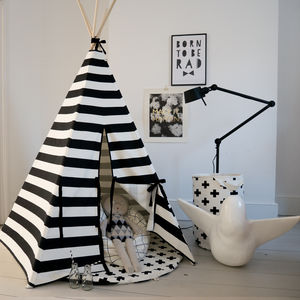 Children's Play Teepee In Monochrome Stripe - personalised gifts