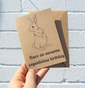 'Veganlicious Birthday Bunny' Vegan Birthday Card