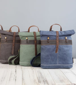 Rolltop Canvas And Leather Backpack - new in fashion