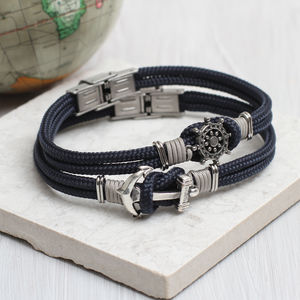 Men's Personalised Nautical Symbol Bracelet - bracelets