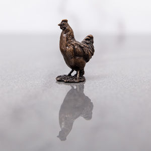Miniature Bronze Chicken Statue - ornaments