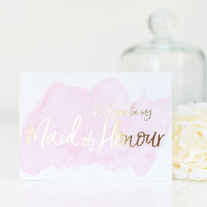 Will You Be My Maid Of Honour Gold Foil Card - what's new