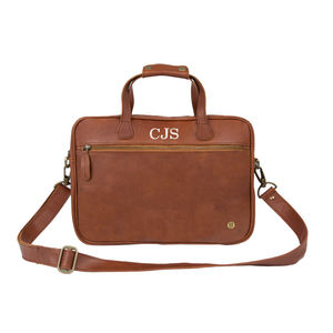 Personalised Leather Compact Laptop Satchel - laptop bags & cases