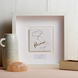 Personalised Gold Foil Line Map Picture