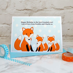 'Foxes' Personalised Birthday Card From Two Children