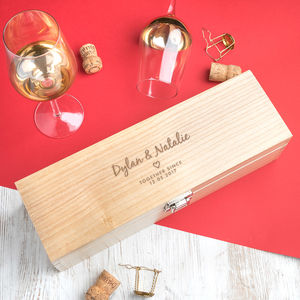 Personalised Wooden Anniversary Wine Box - storage & organisers