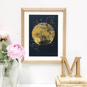 Personalised Gold Foil 'There And Back' Moon Print