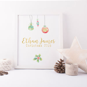 Baby's First Christmas Personalised Print
