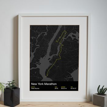 New York Marathon personalised print with an athlete's name and finishing time
